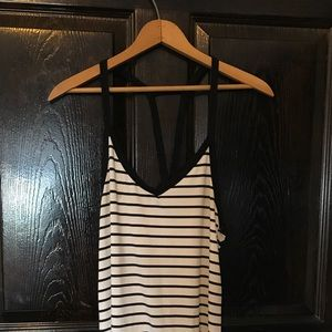Black and White Striped Strappy Sundress Size S